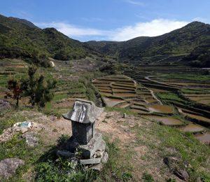 春日集落中央の丸尾山頂上から望む棚田と安満岳(左奥)=平戸市春日町